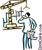 man with blueprints looking at construction site Vector Clip Art picture