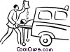 patient being loaded into an ambulance Vector Clipart illustration