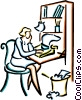 Vector Clipart illustration  of a woman typing a letter
