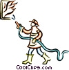 firefighter fighting a fire Vector Clip Art graphic