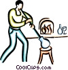 Vector Clip Art graphic  of a glass blowing