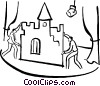Vector Clip Art graphic  of a stage hands setting up props