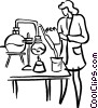 Vector Clip Art graphic  of a female research scientist