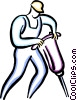Vector Clipart graphic  of a man with a jackhammer