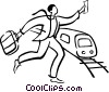 Vector Clip Art graphic  of a businessman running to catch a