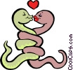 Vector Clip Art image  of a snakes in love