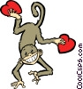 monkey with hearts Vector Clip Art picture