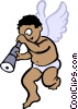 cupid looking through a telescope Vector Clipart picture