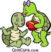 Vector Clip Art graphic  of a turtles in love
