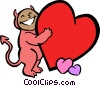 little devil with hearts Vector Clipart picture
