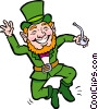 Leprechaun with pipe clicking his heels Vector Clip Art graphic