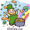 Vector Clipart image  of a leprechaun with pot of gold
