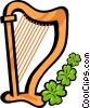 Vector Clipart picture  of a harp with shamrocks