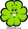 Vector Clip Art graphic  of a smiling shamrock