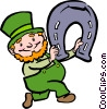 Vector Clipart illustration  of a leprechaun with a horse shoe