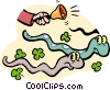 Vector Clipart image  of a St. Patrick chasing out snakes