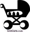 Vector Clipart picture  of a baby stroller