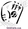 Vector Clip Art image  of a baseball glove and ball