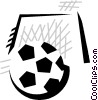 Vector Clipart image  of a soccer ball with soccer net
