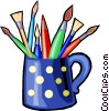 colored pencils and paint brushes in a coffee cup Vector Clip Art graphic