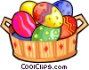 Easter eggs in a basket Vector Clipart image