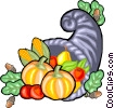 Vector Clip Art image  of a Cornucopia of fall harvest