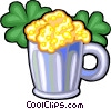 Mug of beer with clovers Vector Clipart picture