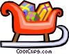 Santa's sleigh filled with presents Vector Clipart illustration