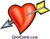 Vector Clip Art image  of an arrow through a heart