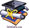 Vector Clip Art image  of a graduation hat and diploma