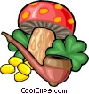 Vector Clipart graphic  of a mushroom, gold coins, clovers