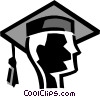 Vector Clip Art graphic  of a graduating student