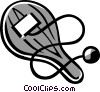 Vector Clipart illustration  of a paddle and ball