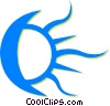 Vector Clipart picture  of a moon and sun