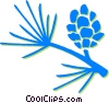 pine leaves and pinecone Vector Clipart illustration