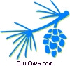 Vector Clip Art image  of a pine leaves and pinecone