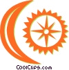 Vector Clip Art image  of a moon and sun