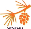 pine leaves and pinecone Vector Clip Art picture