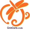 dragon flies Vector Clip Art picture