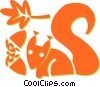 Vector Clip Art image  of a squirrels