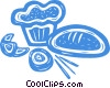 bread, muffin, croissant Vector Clipart graphic
