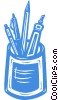 assorted pens and pencils Vector Clip Art picture