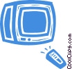 Vector Clip Art graphic  of a television with remote control