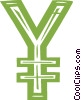 Vector Clipart image  of a Japanese yen symbol