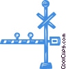 Vector Clip Art graphic  of a railway crossing