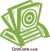 Vector Clipart picture  of a CD rom holder with CD's