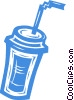 Vector Clipart graphic  of a soda drink with a straw