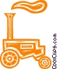 Vector Clip Art image  of an antique tractor