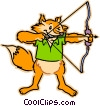 fox with a bow & arrow Vector Clipart graphic