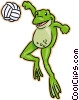 Vector Clip Art picture  of a frog playing volleyball